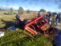 Impactante choque entre un camión y un tractor en cercanías de Concarán